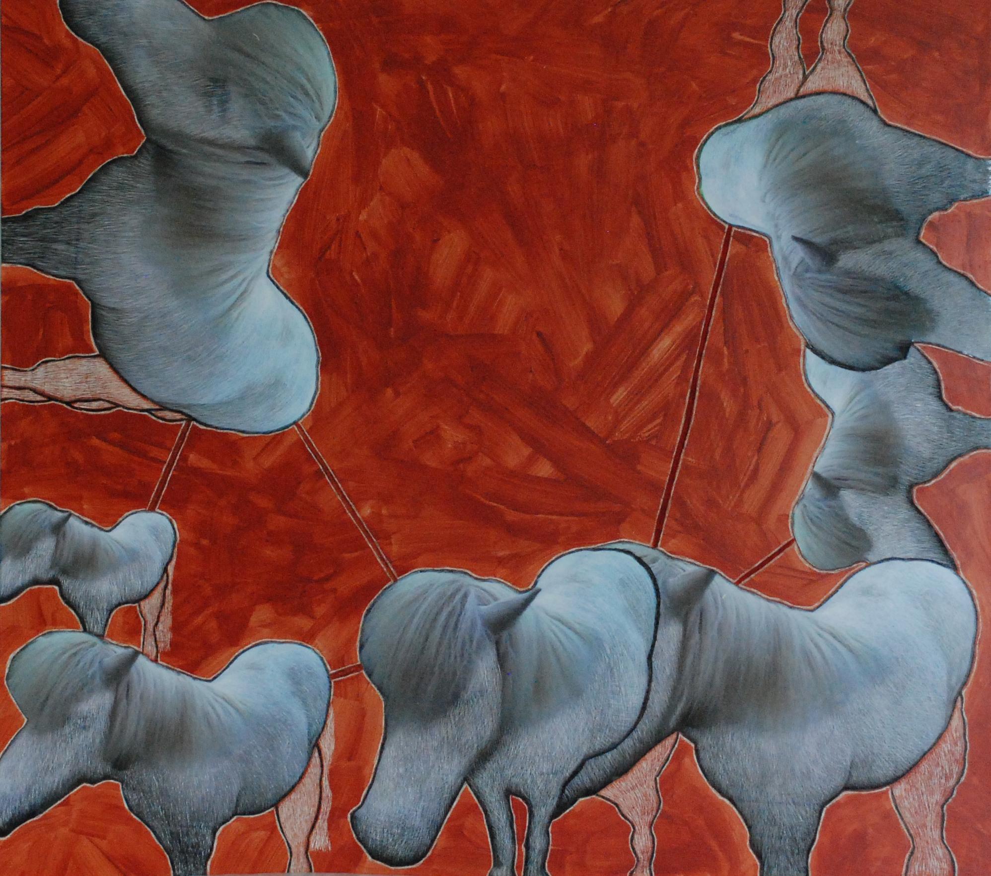 rood gras met grijze paarden - 52 x 60 x 1 cm