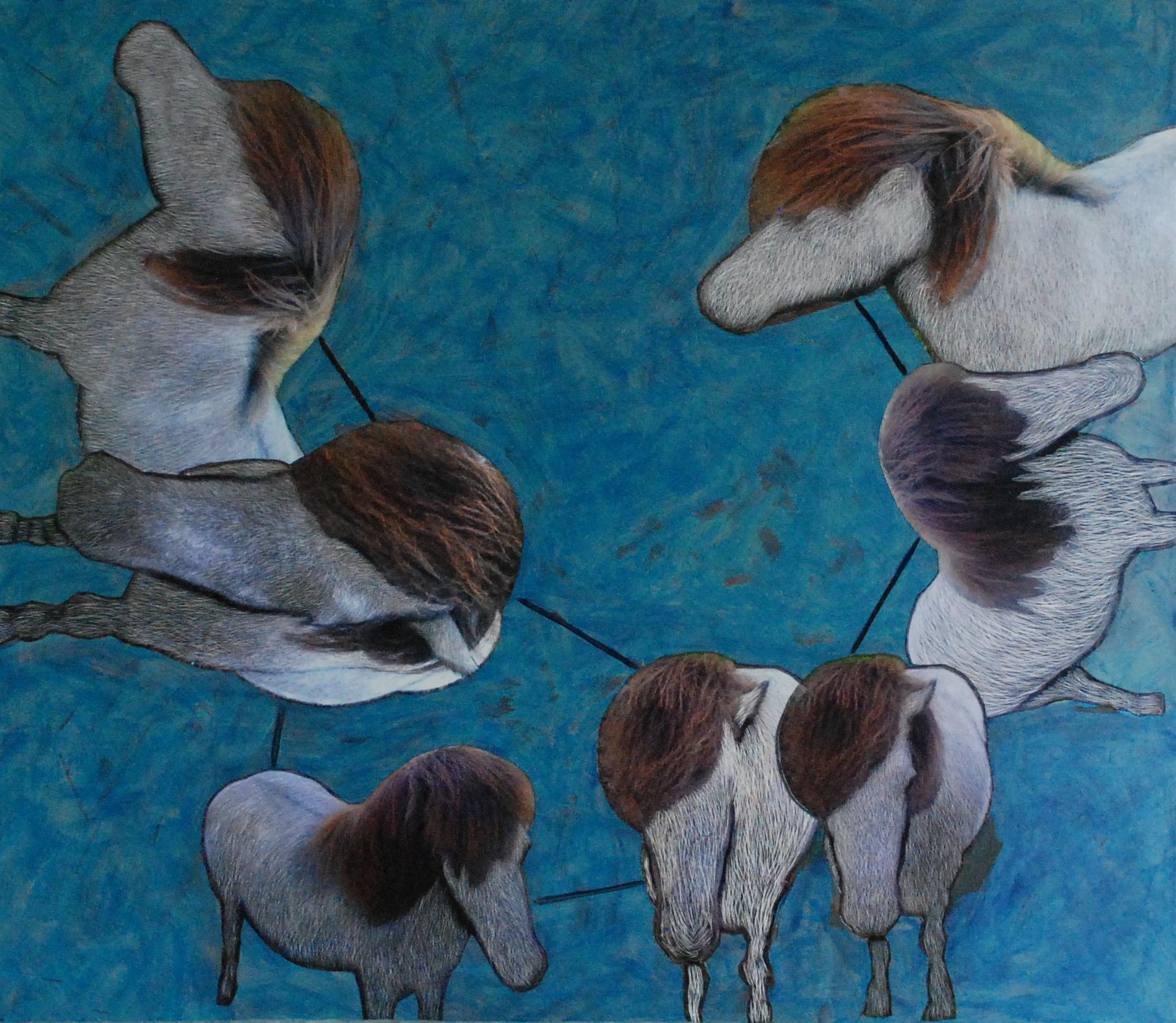 blauw gras met bruine paarden - 52 x 60 x 1 cm