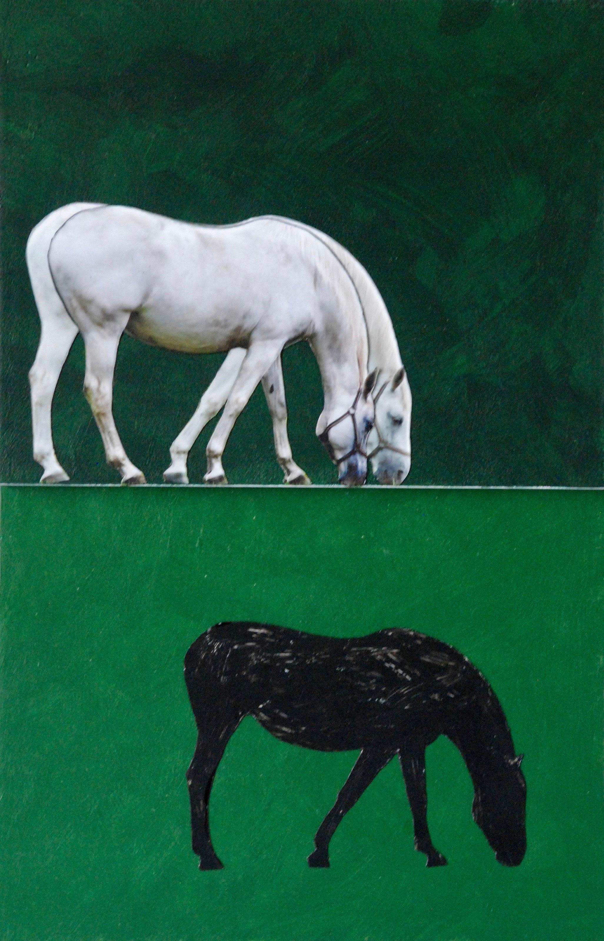 drie paarden in een groene wei - 19,5 x 29,7 x 2 cm