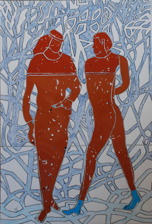 Twee figuren in het rood